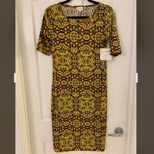 LuLaRoe NWT Julia dress - yellow/maroon - small